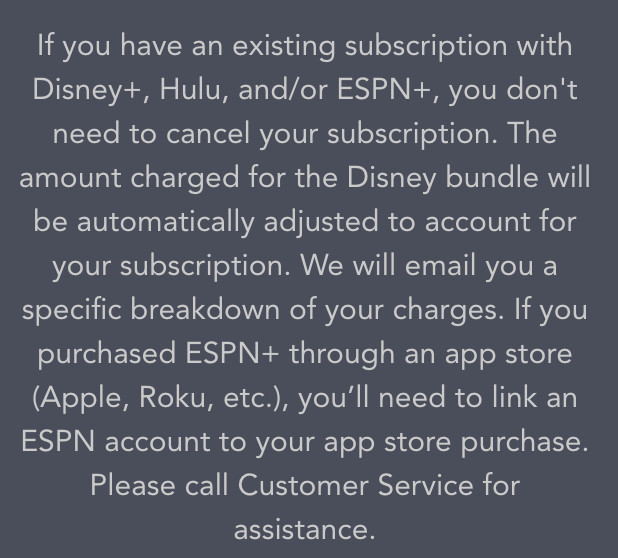 Text explaining that you don't need to cancel your Hulu or ESPN subscription in order to sign up for the Disney Plus bundle