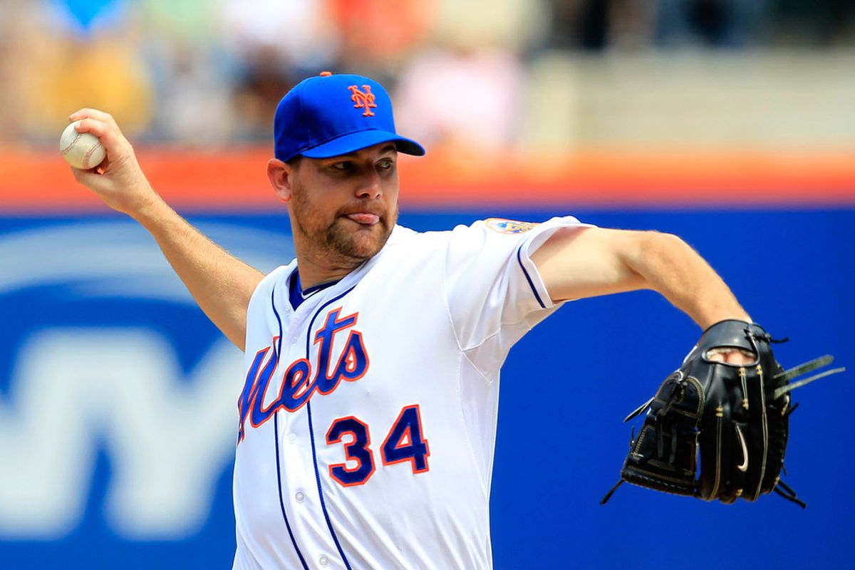 Mike Pelfrey of the New York Mets pitches against the San Francisco Giants at Citi Field on April 21, 2012 in the Flushing neighborhood of the Queens borough of New York City.  (Photo by Chris Trotman/Getty Images)