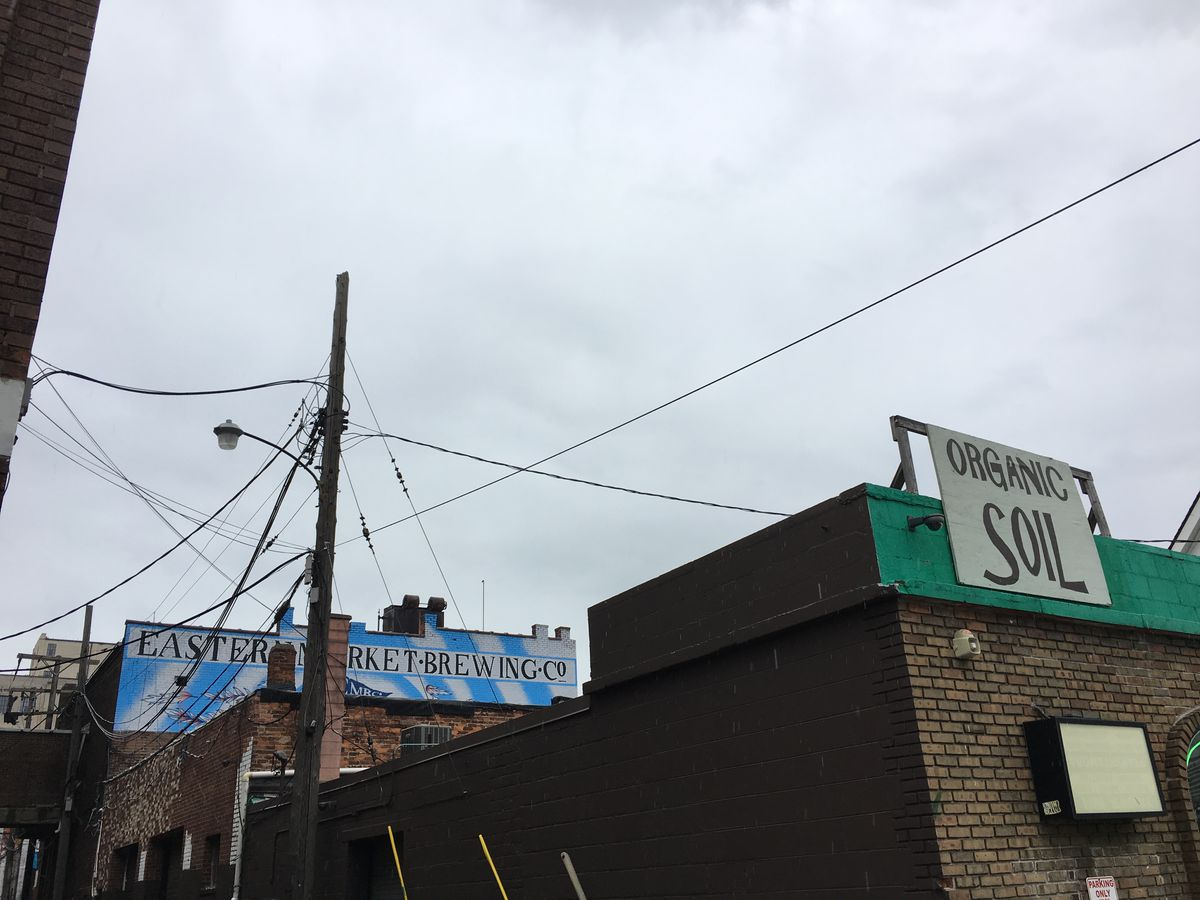 Eastern Market Brewing Company's roof overlooks Shed 2 and the Cultivation Station.