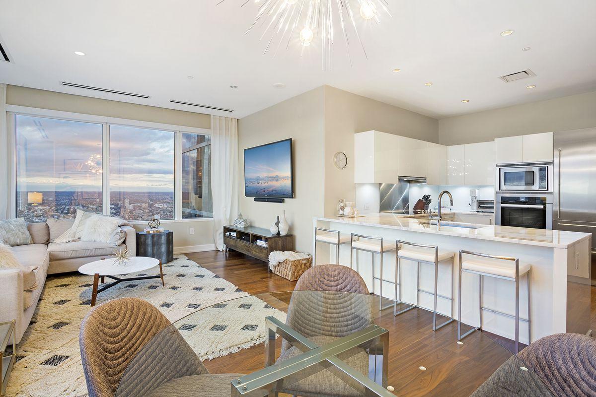 A modern condo with western views.