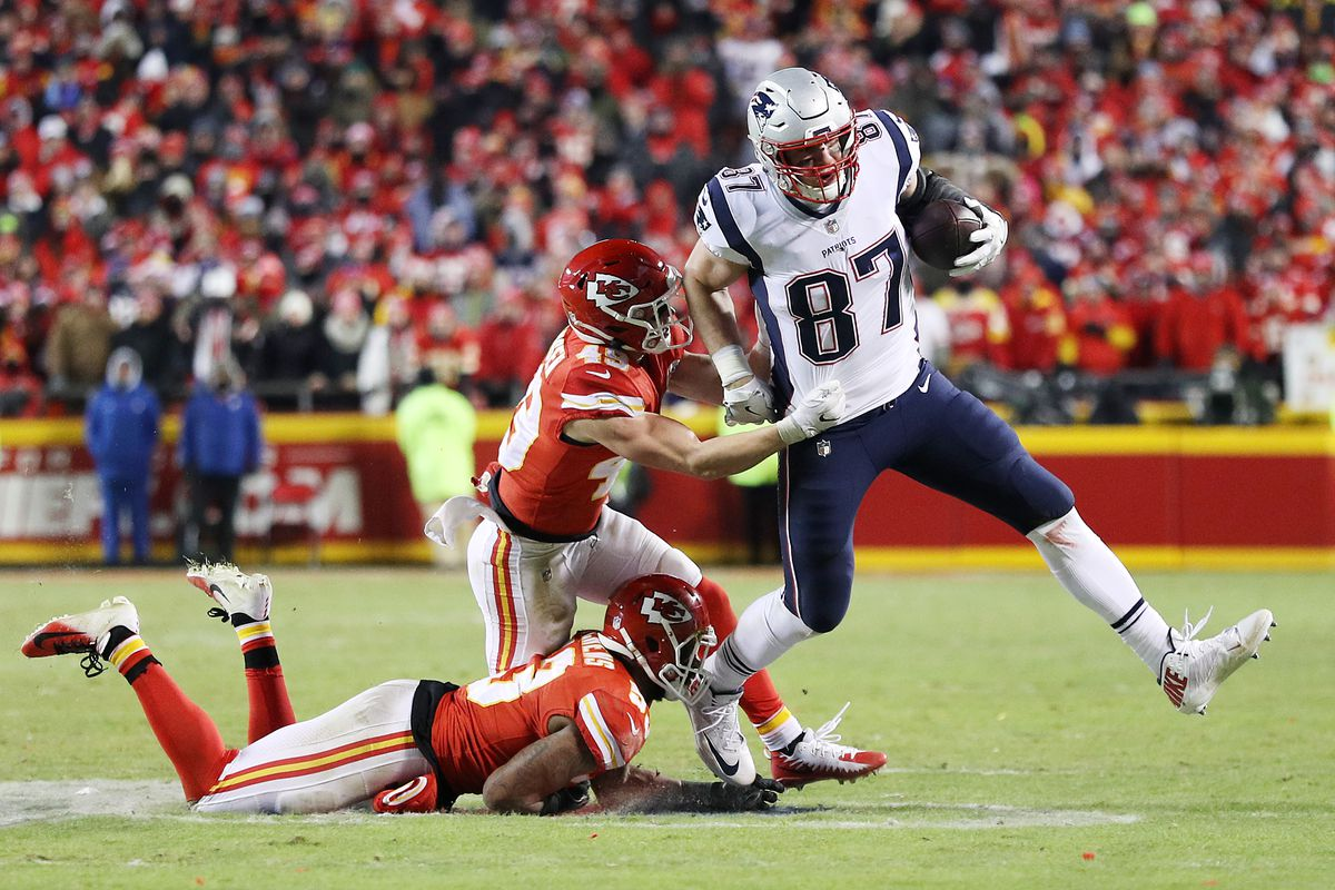 d8ce41271 2019 AFC Championship Game  Patriots TE Rob Gronkowski delivers ...