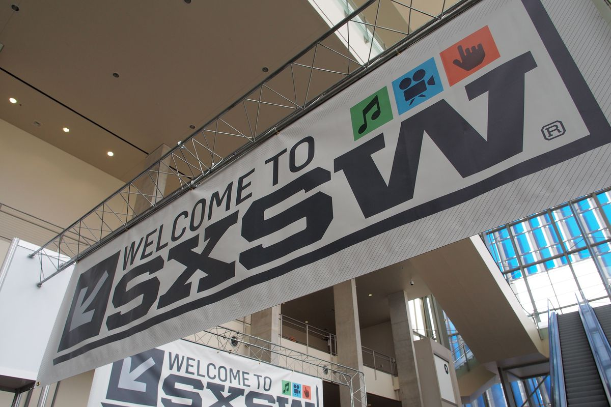 (FILES) In this file photo taken on March 7, 2012 bnners hang in the atrium of the Austin Convention Center, on the eve of the opening of the 27th South By Southwest (SXSW) interactive, film and music festival. - The South by Southwest festival in Texas has been cancelled due to concerns over the spread of the novel coronavirus, organizers and the host city of Austin said on March 6, 2020. (Photo by Robert MacPherson / AFP) (Photo by ROBERT MACPHERSON/AFP via Getty Images)