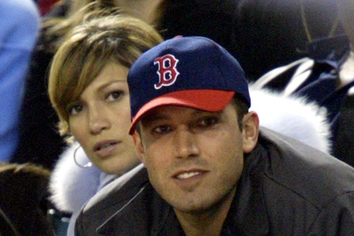 Jennifer Lopez and Ben Affleck Attend Anaheim Angels v Boston Red Sox Game
