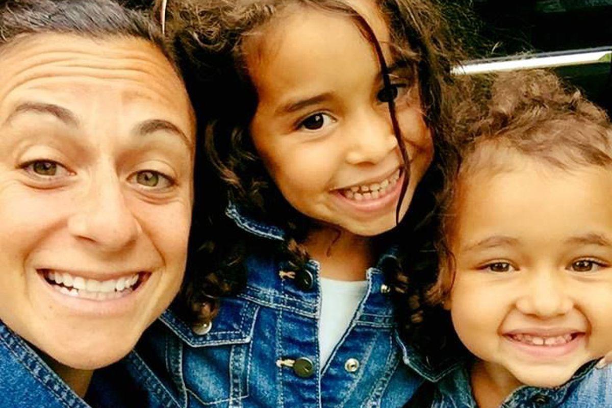 Brooklyn high school teacher Emily James with her children.