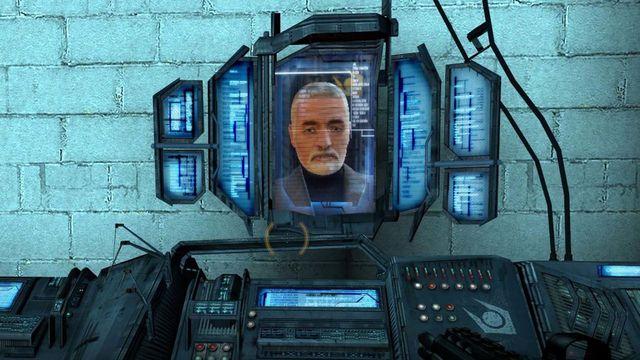 Dr. Breen returns to harass the player, as Gordon Freeman, in the Watar Hazard level.