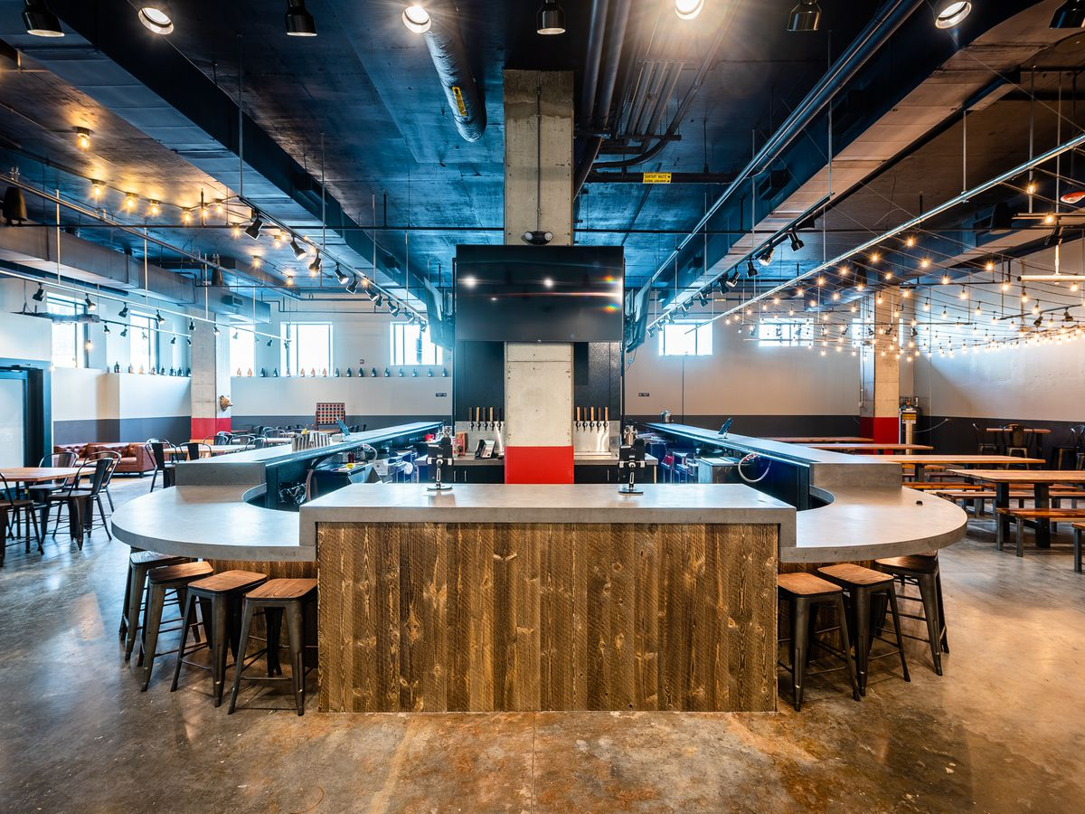 The wraparound bar serving Red Bear Brewing