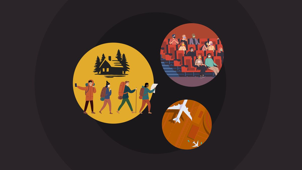 An illustration of circles with people doing activities in them.