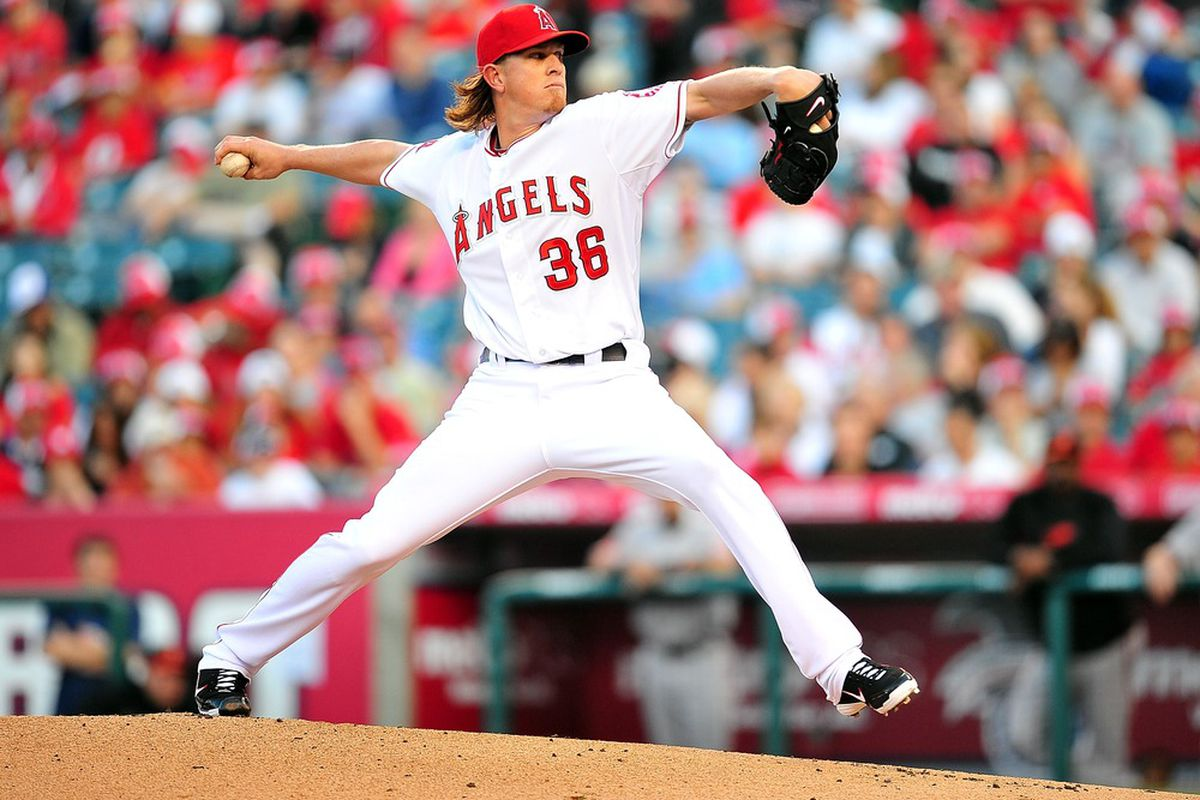 April 21, 2012; Anaheim, CA, USA; Los Angeles Angels starting pitcher Jered Weaver (36) pitches in the first inning against the Baltimore Orioles at Angel Stadium. Mandatory Credit: Gary A. Vasquez-US PRESSWIRE