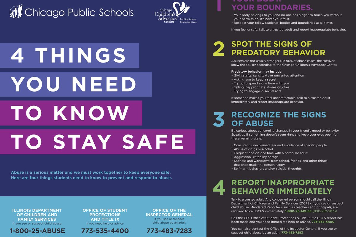 Last fall, Chicago schools kicked off a poster campaign that spells out how to report suspected abuse.