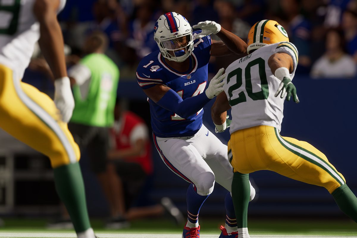 wide receiver Stefon Diggs of the Buffalo Bills fends off a Green Bay Packers defensive back in Madden NFL 22