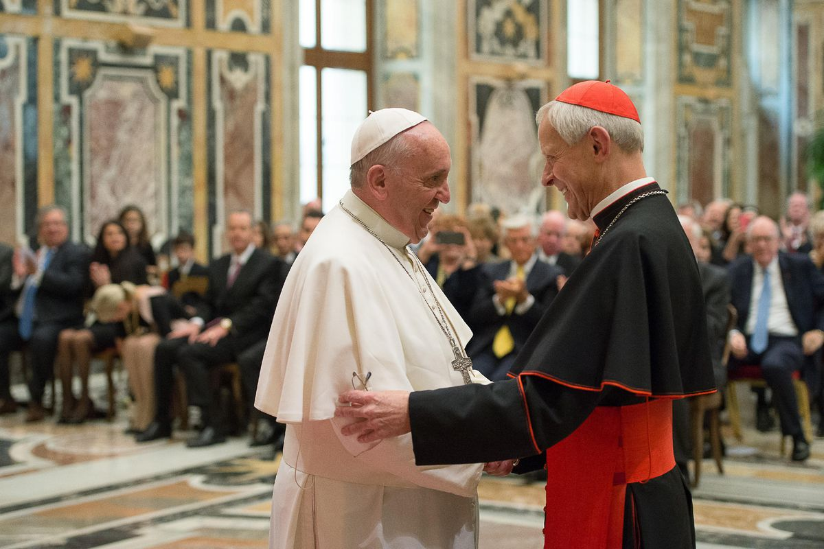 FILE - In this Wednesday, Oct. 20, 2010 file photo, Pope Francis, left, talks with Papal Foundation Chairman Cardinal Donald Wuerl, Archbishop of Washinghton, D.C., during a meeting with members of the Papal Foundation at the Vatican. On Tuesday, Aug. 15,