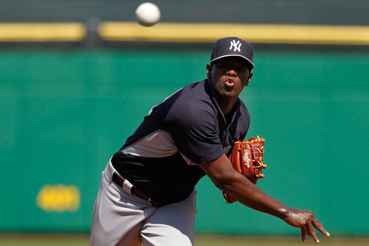 Yankees right hander Luis Severino handcuffed the Akron line up through five.