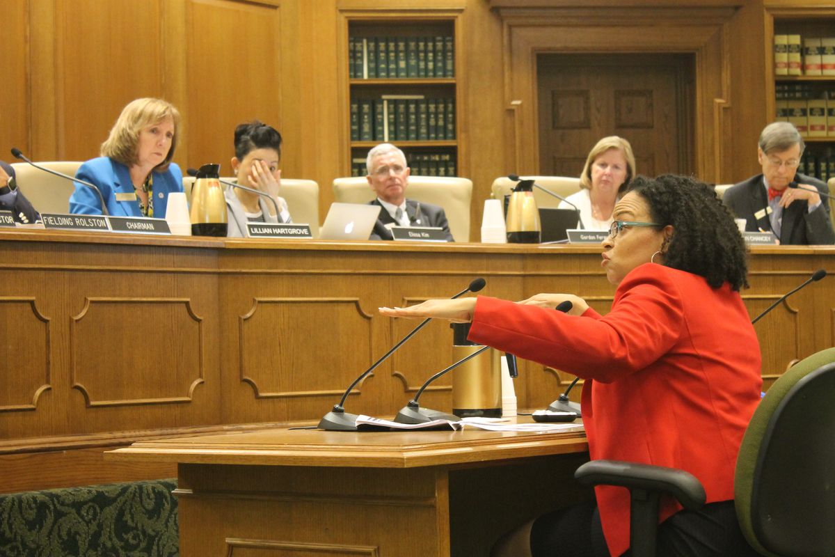 ASD Superintendent Malika Anderson briefs the State Board of Education this spring.