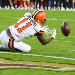 October 2019: In Week 5, the Browns were on Monday Night Football yet again, this time taking on the 4-0 San Francisco 49ers. When Matt Breida ran for an 83-yard touchdown on the 49ers' first offensive play, it was a sign of things to come. But still, with Cleveland down 13-3, they were driving near the end of the first half. The picture above shows what should have been a touchdown catch by the just re-instated Antonio Callaway. Instead, that play was actually tipped into the air by Callaway, and a 49ers player intercepted it. The 49ers went on to win 31-3, as Cleveland fell to 2-3 on the year.