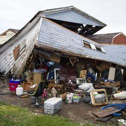 A garage was ripped from its foundation after a tornado struck Washington Terrace on Thursday, Sept. 22, 2016. Officials said nobody was injured in the twister.