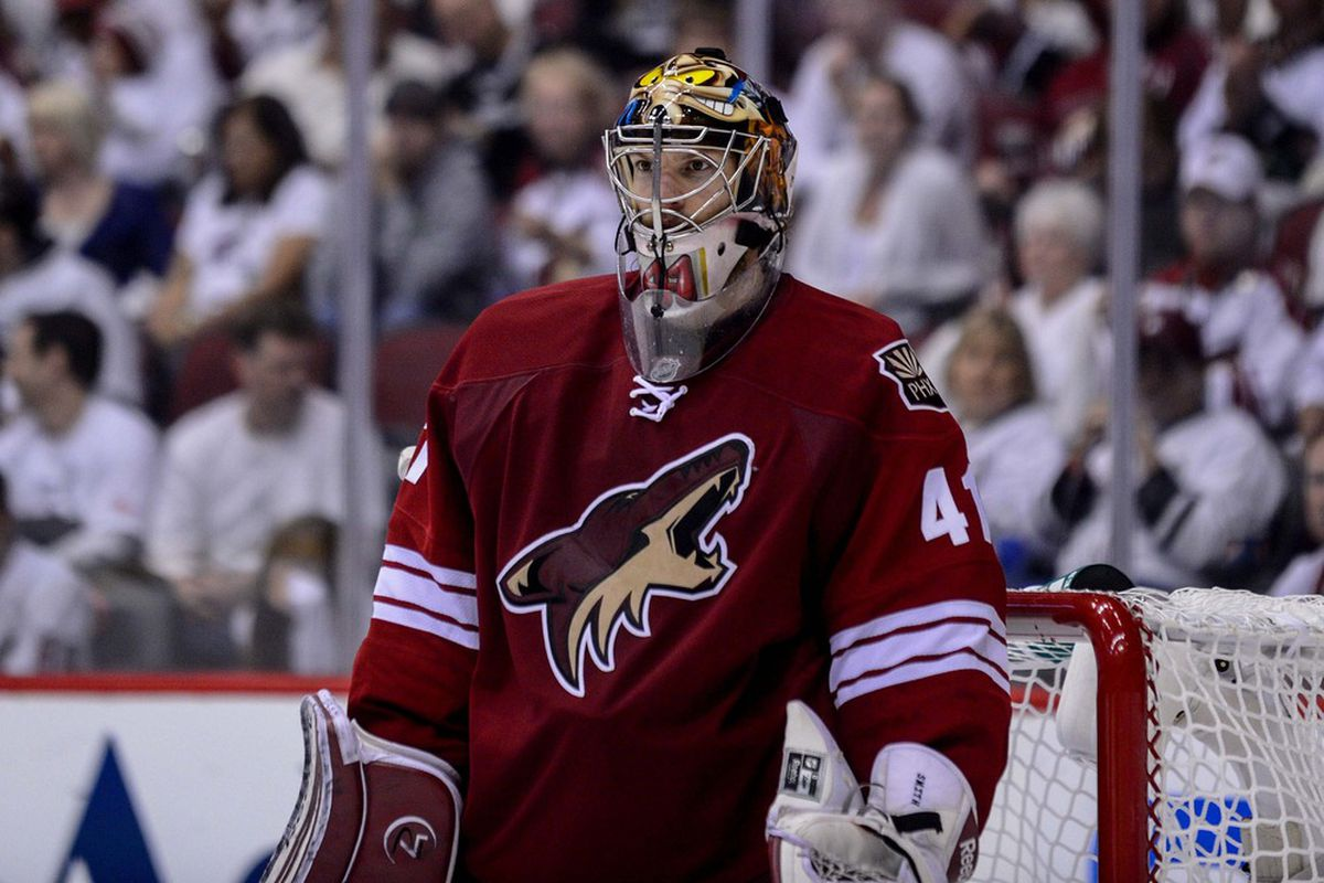 This man is probably very happy that Sean Burke resigned with the Coyotes.  Mandatory Credit: Matt Kartozian-US PRESSWIRE