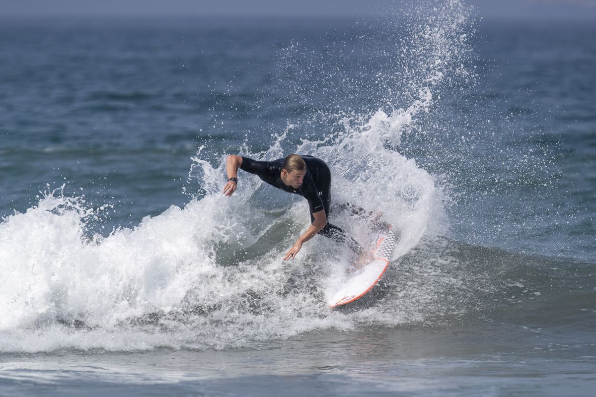 San Clemente surfer and member of the USA Surfing Team, Kolohe Andino gets in some last minute practice at Bolsa Chica State Beach as he heads to the Tokyo Summer Olympic Games