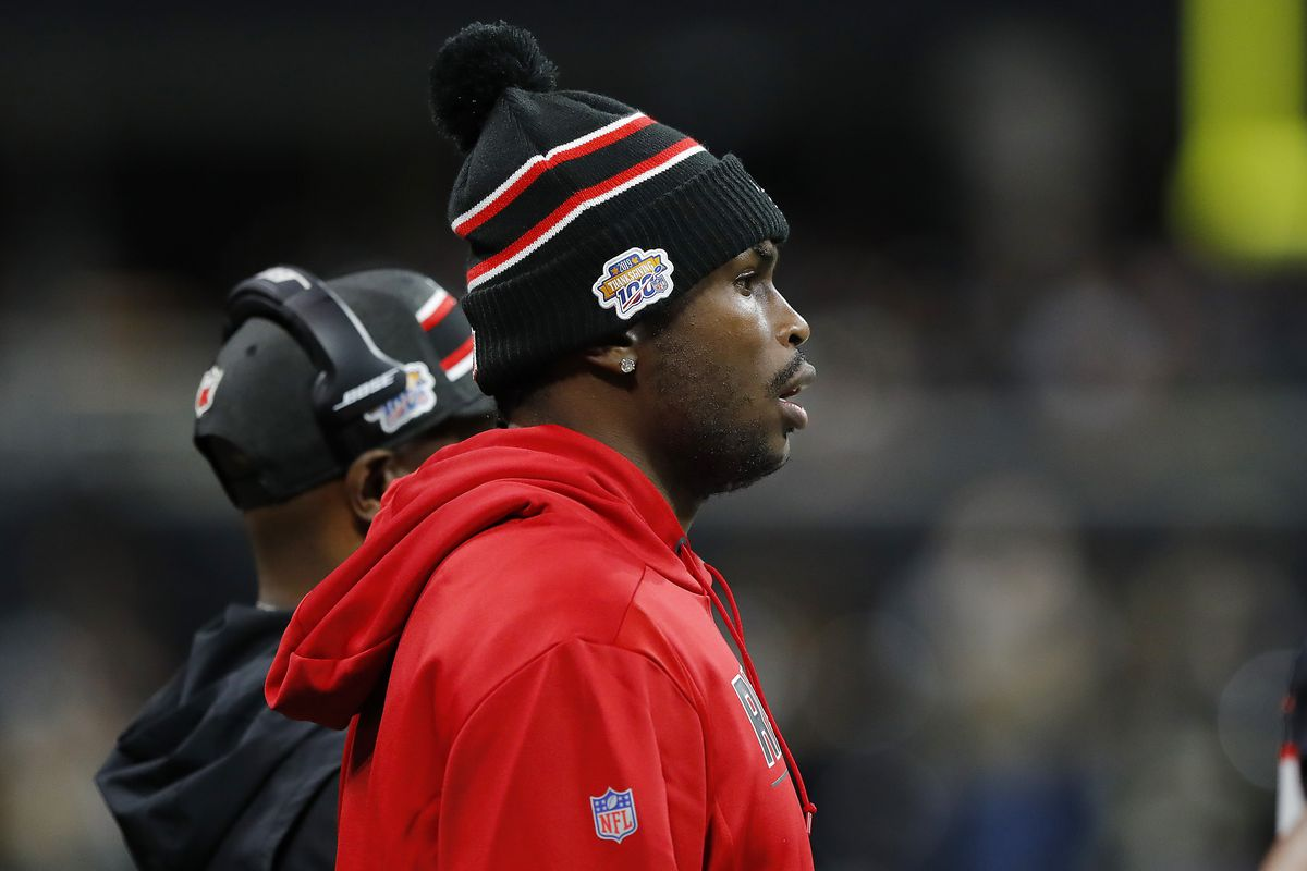Julio Jones of the Atlanta Falcons looks on from the sideline against the New Orleans Saints during the third quarter at Mercedes-Benz Stadium on November 28, 2019 in Atlanta, Georgia.