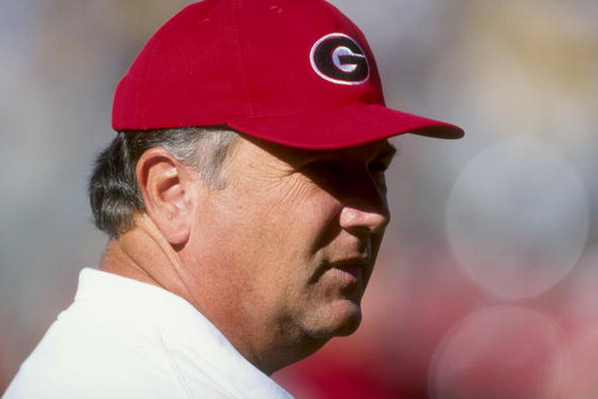 28 Nov 1998: Head coach Jim Donnan of the Georgia Bulldogs looks on during a game against the Georgia Tech Yellow Jackets at Sanford Stadium in Athens, Georgia. Georgia Tech defeated Georgia 21-19. Mandatory Credit: Vincent Laforet /Allsport