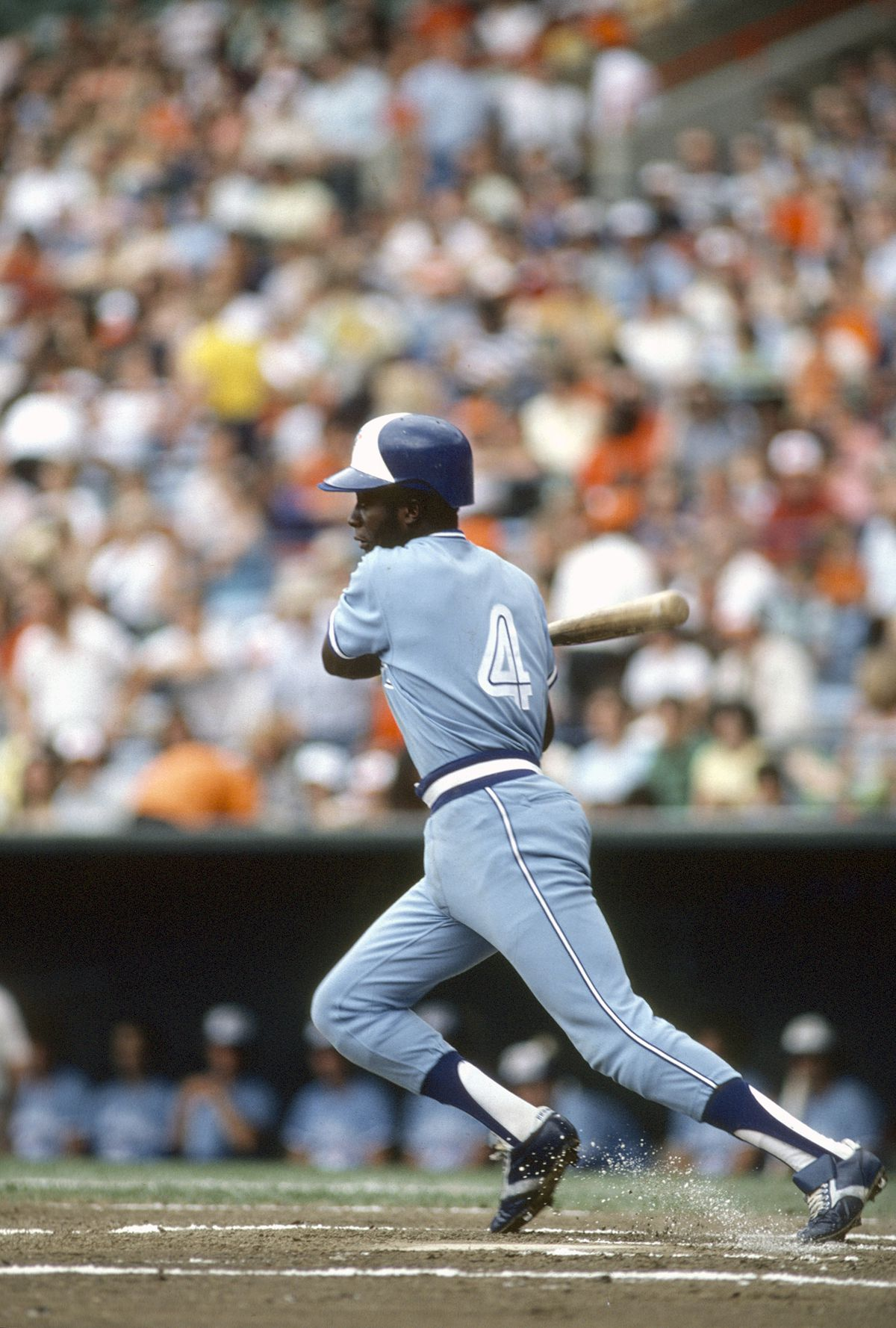 Alfredo Griffin (#4) takes a swing in 1979, again in Baltimore's Memorial Stadium.