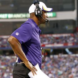 Aug 16, 2013; Orchard Park, NY, USA; Minnesota Vikings head coach Leslie Frazier on the sideline during the second half against the Buffalo Bills at Ralph Wilson Stadium. Bills beat the Vikings 20-16.