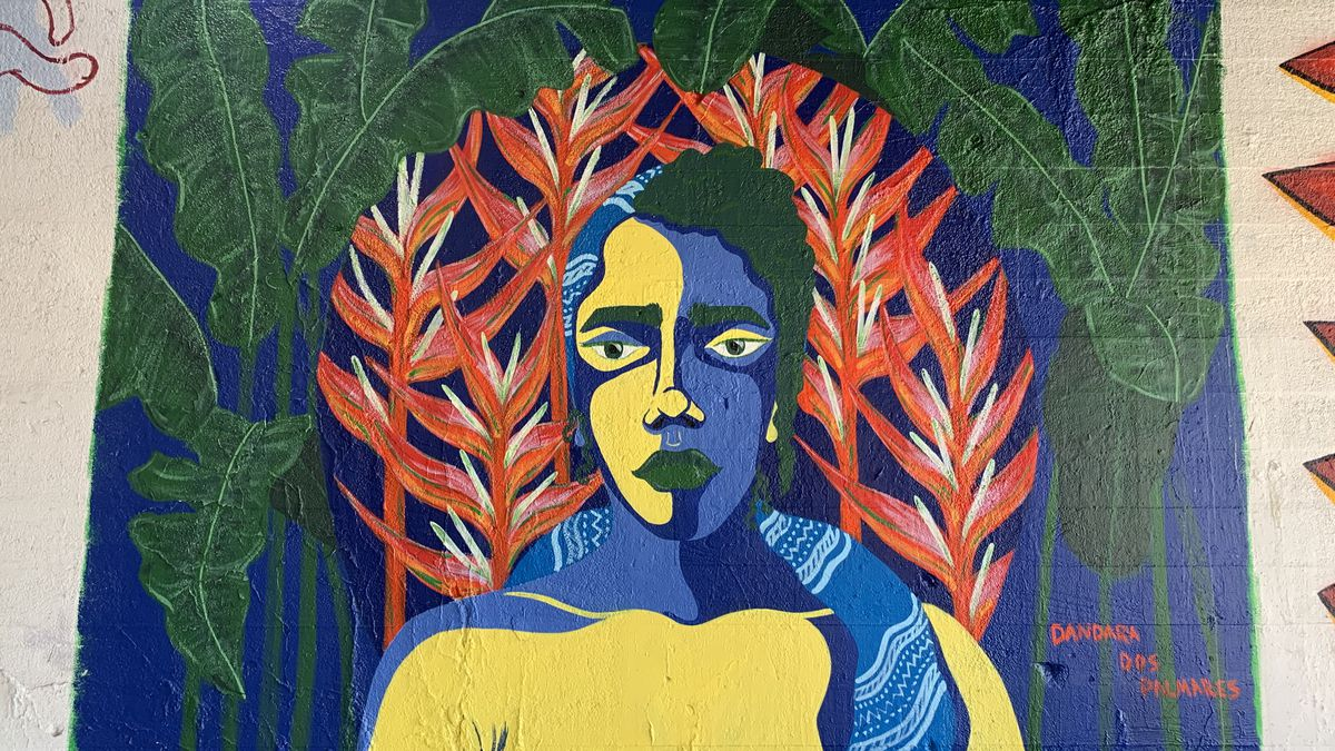 """This mural was done by Oak Park artist Jessica Olinger, who also goes by olllyj. The woman portrayed is Dandara, a """"warrior who fought for Black liberation"""" in Brazil in the colonial era and """"defied all the stereotypes,"""" she says. Olinger was born in Brazil and raised in the United States. This was her first mural."""