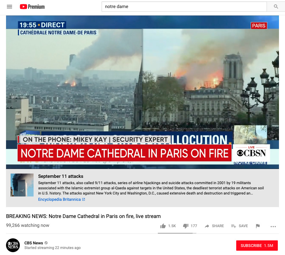 YouTube shows 9/11 link on live videos of unrelated Notre