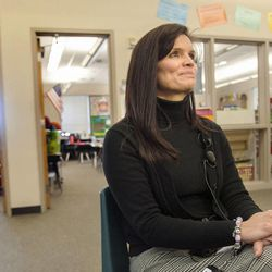 Daybreak Elementary School Assistant Principal Cindy Tingey talks about HB318, which would set class-size caps at 20 students for kindergarten, 22 for first and second grades, and 24 for the third grade, on Monday, Feb. 25, 2013.