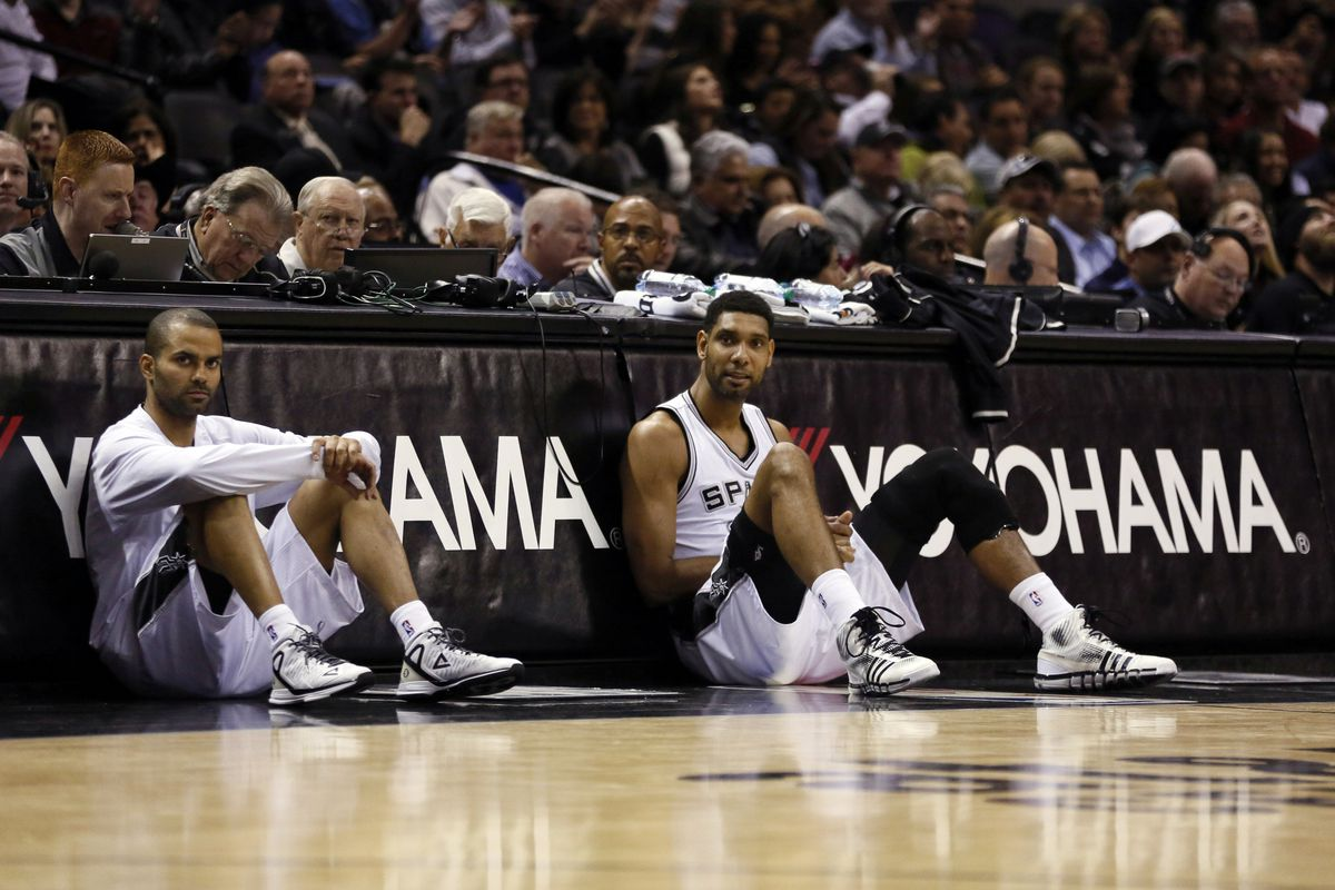 The Spurs will be without the services of Tony Parker (L) and Tim Duncan (R) tonight.
