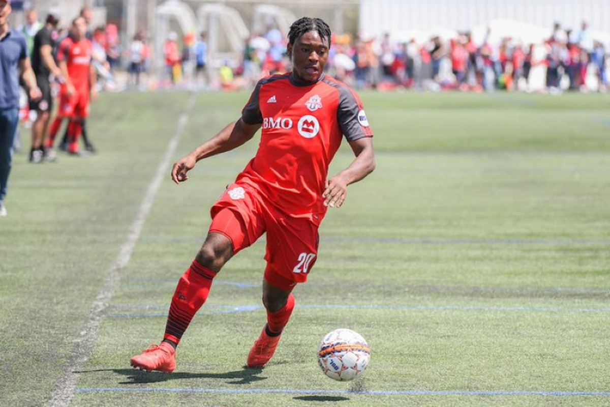 USL Photo - Toronto FC II's Ayo Akinola gets on the ball against Penn FC at Monarch Park