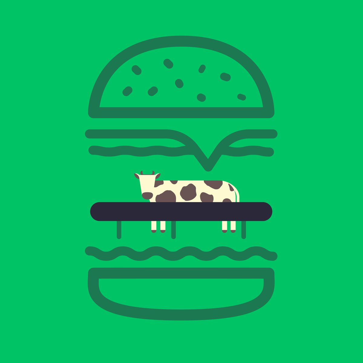 Illustration of a cow in front of a feeding trough within a burger bun.