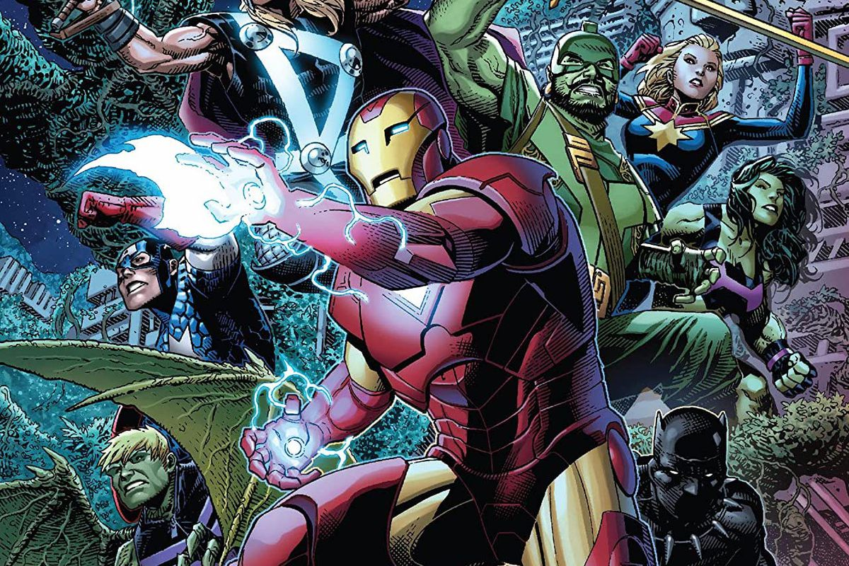 Backed by heroes like Thor, Black Panther, She-Hulk, Ms. Marvel, Captain America, and Hulkling, Iron Man reades his repulsor blasts on the cover of Empyre: Avengers #0, Marvel Comics (2020).