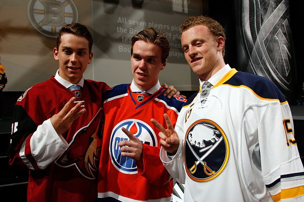 Dylan Strome, Connor McDavid and Jack Eichel were the first three players taken in the 2015 NHL Draft (Courtesy of Bruce Bennett/Getty Images)
