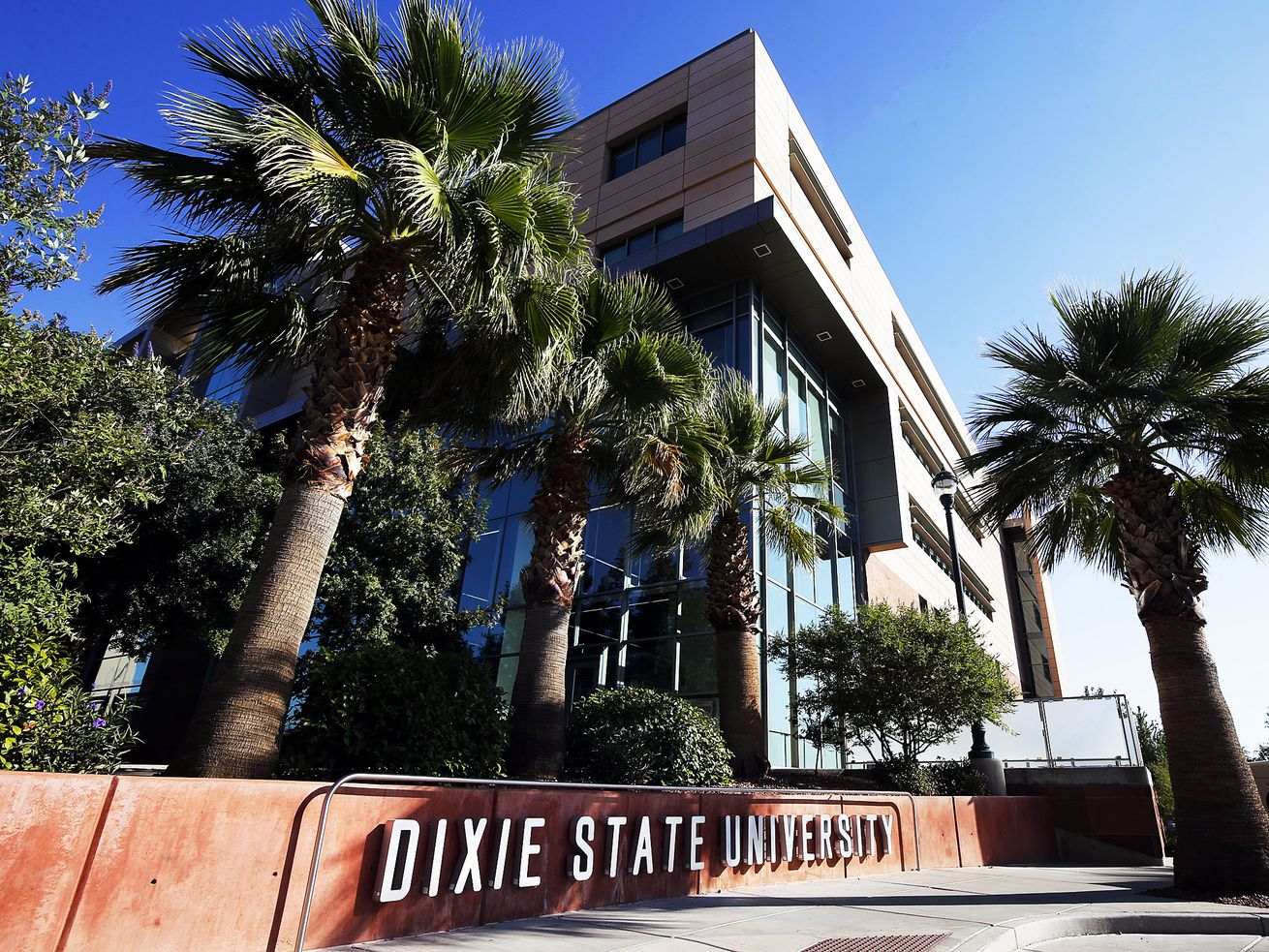 Dixie State University in St. George is picturedon Sunday, Oct. 11, 2020. In the background is the Jeffrey R. Holland Centennial Commons.