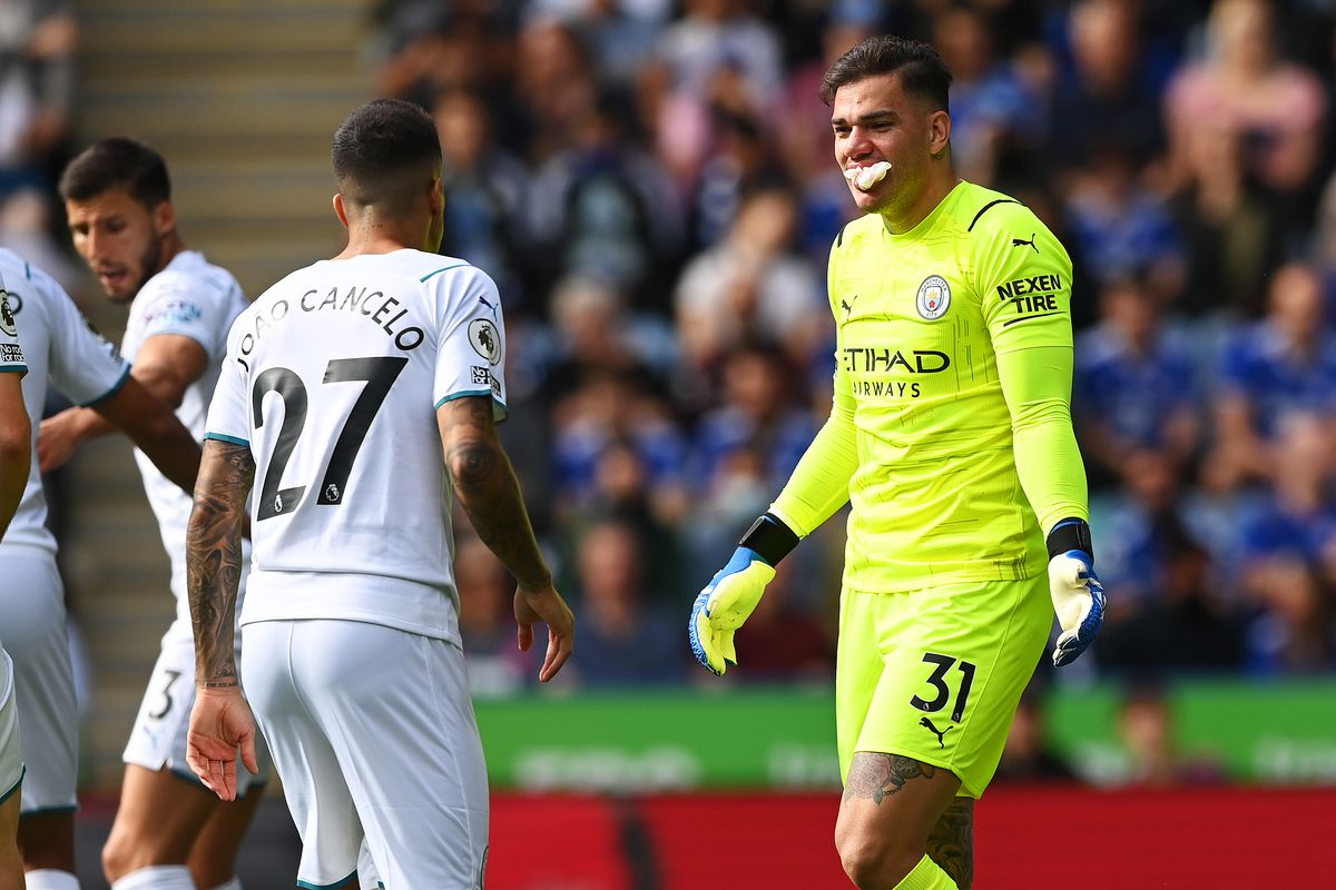 Ederson of Manchester City reacts with tissue in his mouth during the Premier League match between Leicester City and Manchester City at The King Power Stadium on September 11, 2021 in Leicester, England.