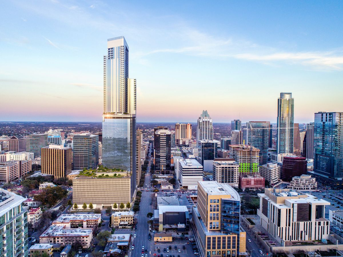 Rendering of downtown Austin looking north with a very tall tower in the foreground