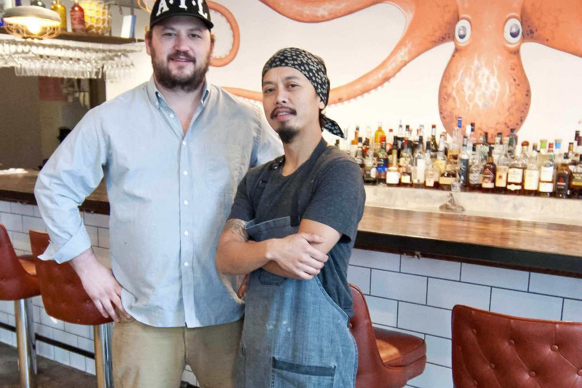 Angus Brown [left] and Nhan Le at Lusca.