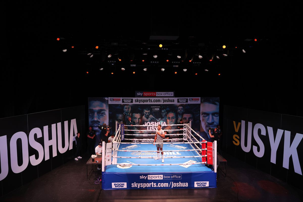 Anthony Joshua looks on from inside the ring during their media work out ahead of the WBA, WBO, IBF and IBO World Heavyweight Title fight between Anthony Joshua and Oleksandr Usyk at the O2 Indigo on September 21, 2021 in London, England.