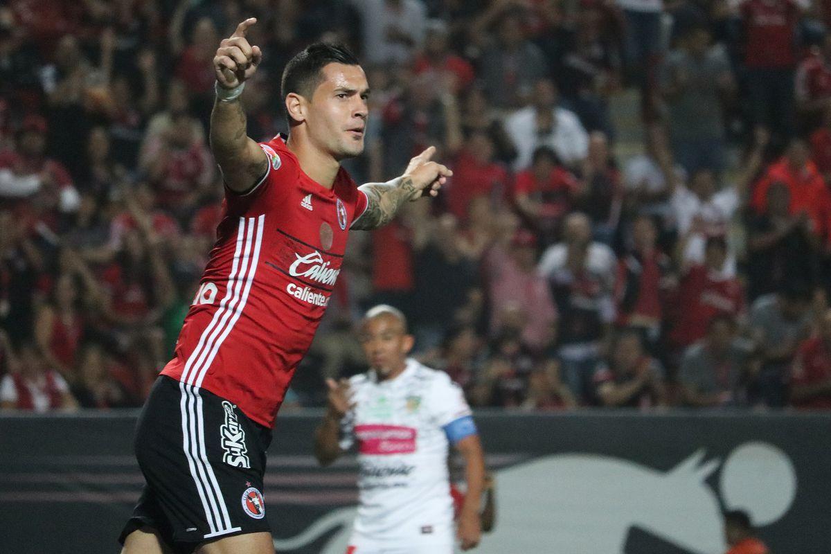 Tijuana's Milton Caraglio celebrates his goal against Chiapas FC.