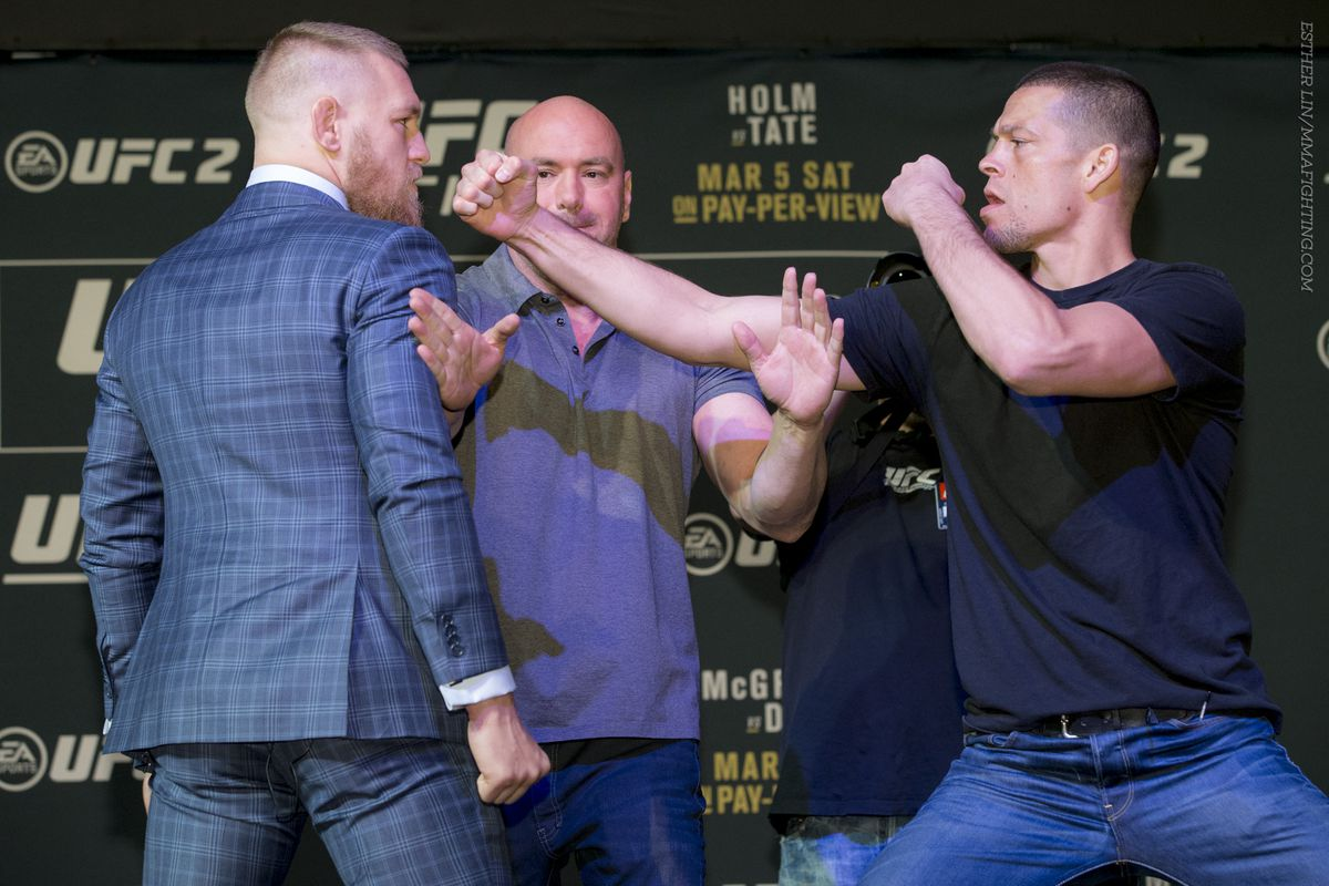 Conor McGregor and Nate Diaz will discuss UFC 202 main event Thursday afternoon.