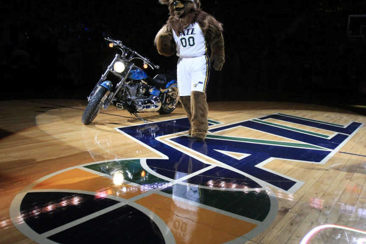 Jazz mascot Bear prior to the tipoff as the Utah Jazz and the San Antonio Spurs play Monday, Feb. 20, 2012 at Energy Solutions arena in Salt Lake City.