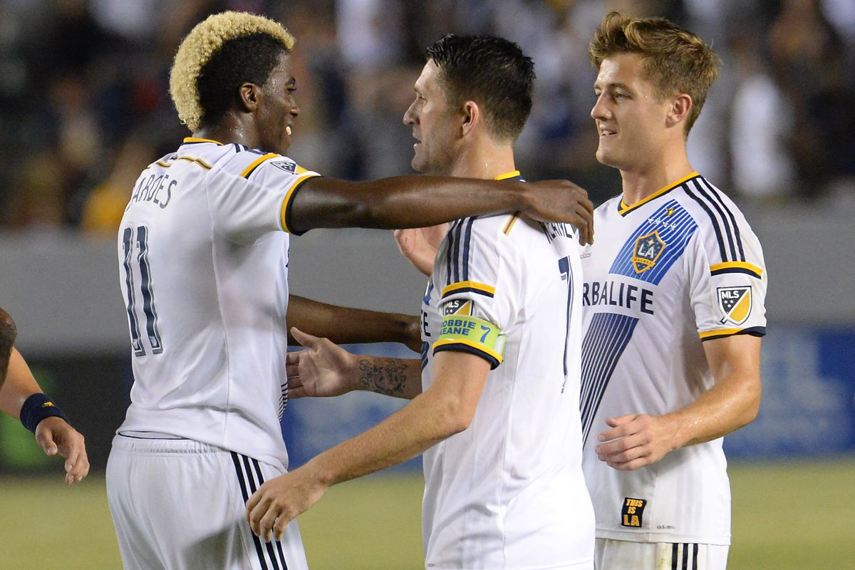 With a goal and two assists, Gyasi Zardes had a lot to celebrate on Saturday night.