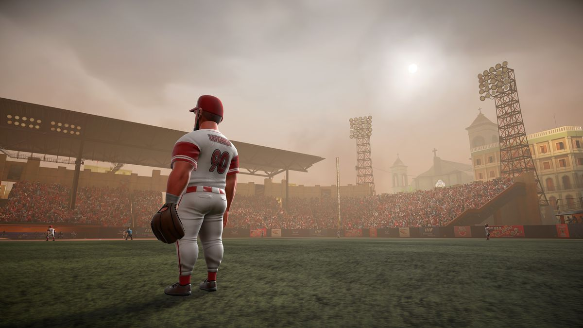 a shot of the player Hammer Longballo standing in the outfield during a cloudy game with hazy skies in Super Mega Baseball 3