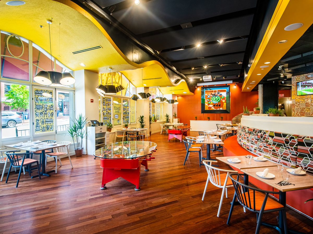 Glass-topped foosball tables at Spanish Diner are a holdover
