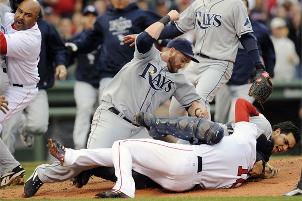 In full-on GomesRage, Jonny Gomes lays down the hammer on Coco Crisp on June 5th, 2008.  Just look at that and appreciate the GomesSmash.