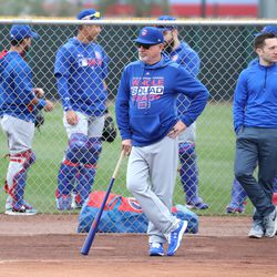 Joe Maddon oversees pitchers during bullpens at the Under Armour Performance Center, the Spring Training home of the Chicago Cubs in Mesa, AZ.  | John Antonoff/For the Sun-Times