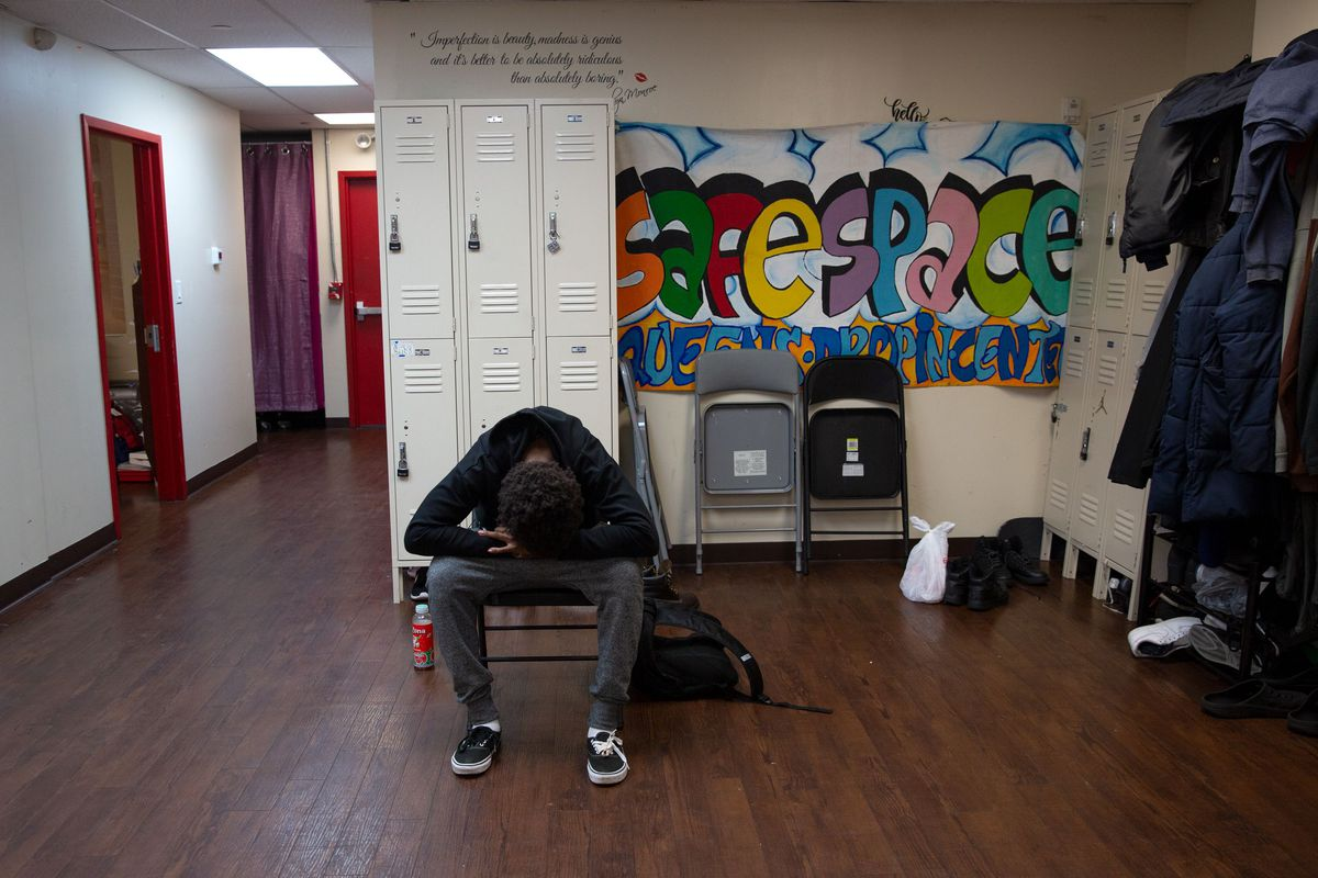 An exasperated homeless youth sits in Sheltering Arms, a Jamaica, Queens drop-in center that provides 24-hour services for people between 14 and 24 years old. May 21, 2019.