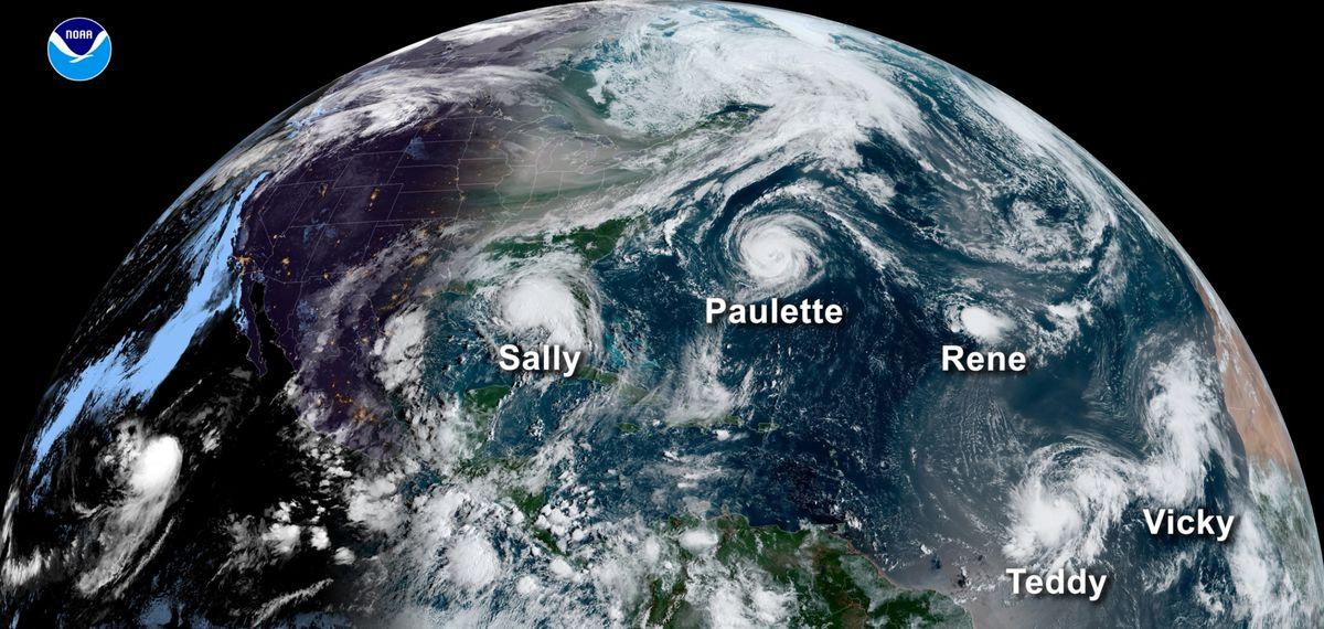 2020 Hurricane Season on a Globe