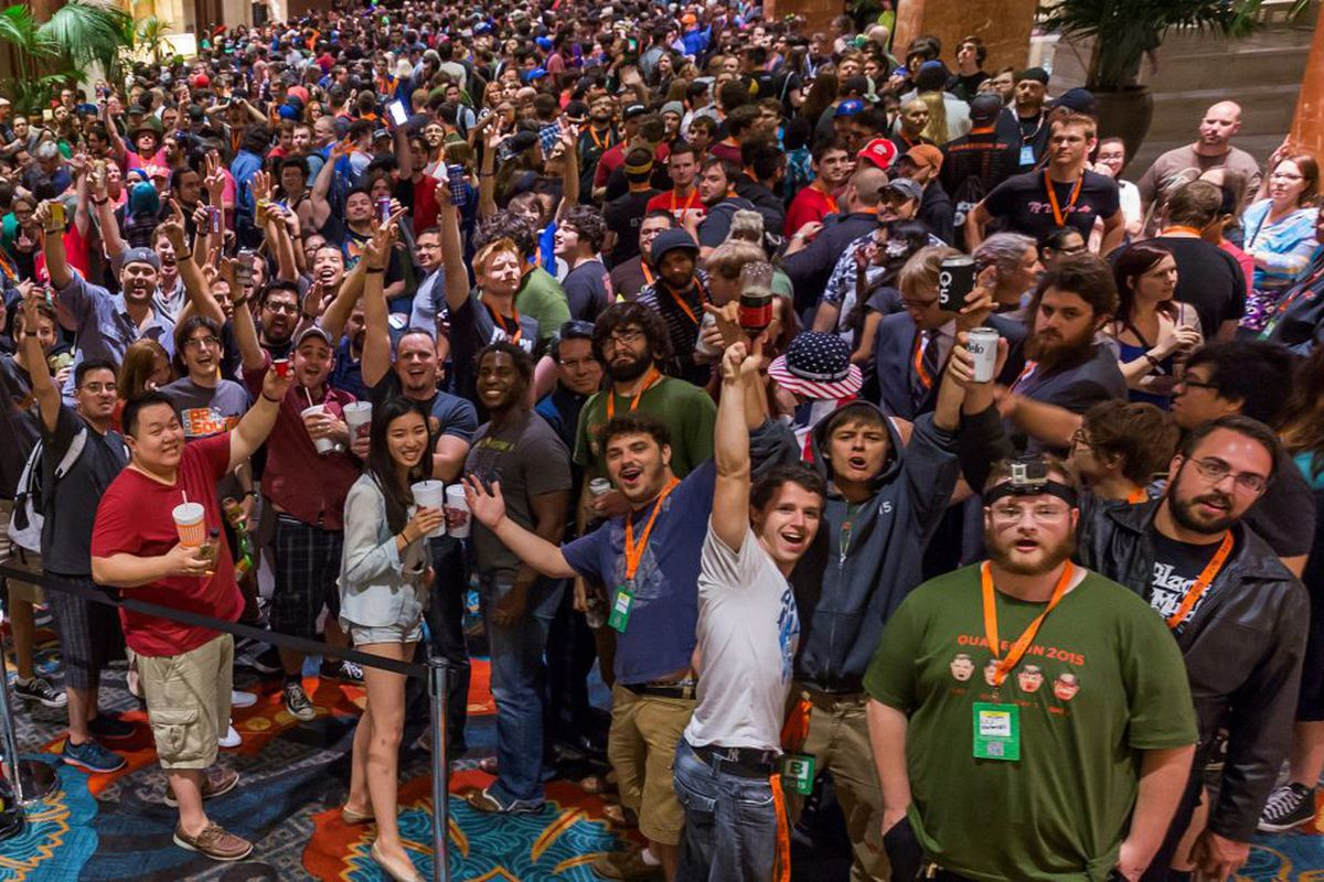 Images from QuakeCon in 2017 show fans crowded in a convention center.