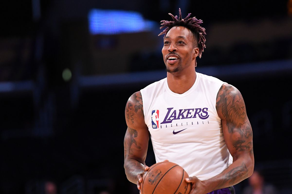 Los Angeles Lakers center Dwight Howard warms up for the game against the Detroit Pistons at Staples Center.